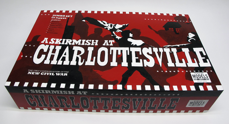 "closed box of ""A Skirmish at Charlottesville,"" boxed set of 60 painted figures plus accessories, including house, trees, signs, street furniture by Matt Ferranto"