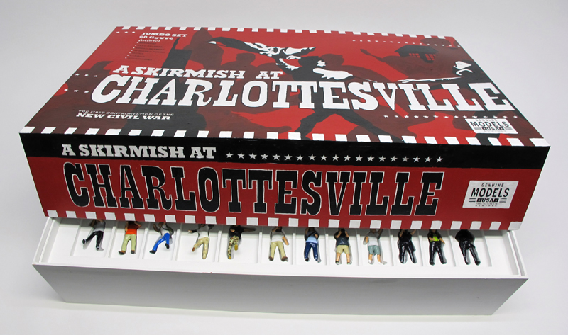 "partly opened box of ""A Skirmish at Charlottesville,"" boxed set of 60 painted figures plus accessories, including house, trees, signs, street furniture by Matt Ferranto"