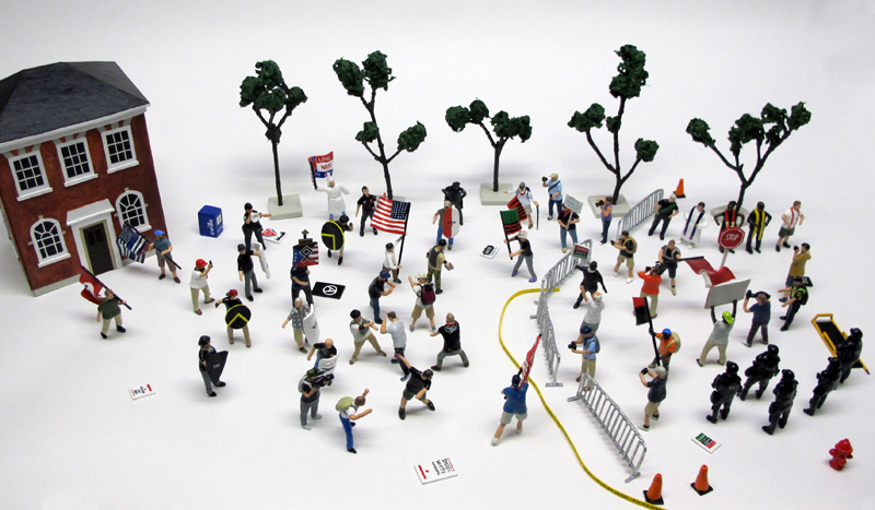 """detail of """"A Skirmish at Charlottesville,"""" boxed set of 60 painted figures plus accessories, including house, trees, signs, street furniture by Matt Ferranto"""