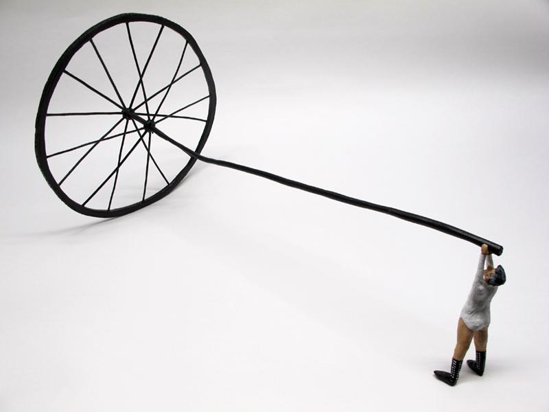 """Desire (after Martin Puryear)"" - painted miniature figure and spoked wheel with long axle, study of a sculpture by Martin Puryear, by Matt Ferranto"