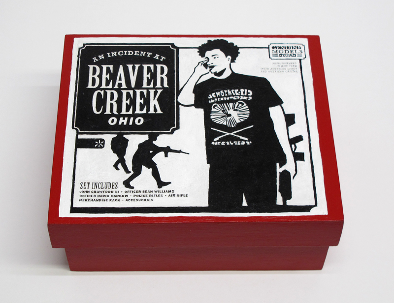 "closed box of ""An Incident at Beaver Creek"" boxed set containing three miniature figures, and retail sales shelf by Matt Ferranto"