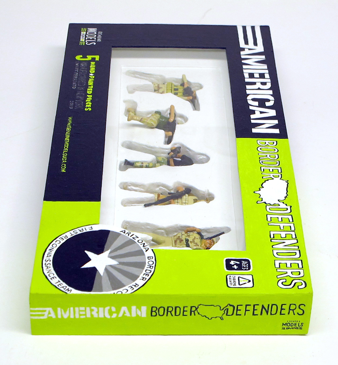 "closed box of ""American Border Defenders (Arizona Border Recon),"" boxed set with five painted figures by Matt Ferranto"