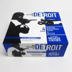 "closed box of ""An Incident at Detroit,"" boxed set with three painted figures and police car by Matt Ferranto"