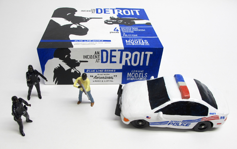 "box of ""An Incident at Detroit,"" boxed set with three painted figures and police car by Matt Ferranto"