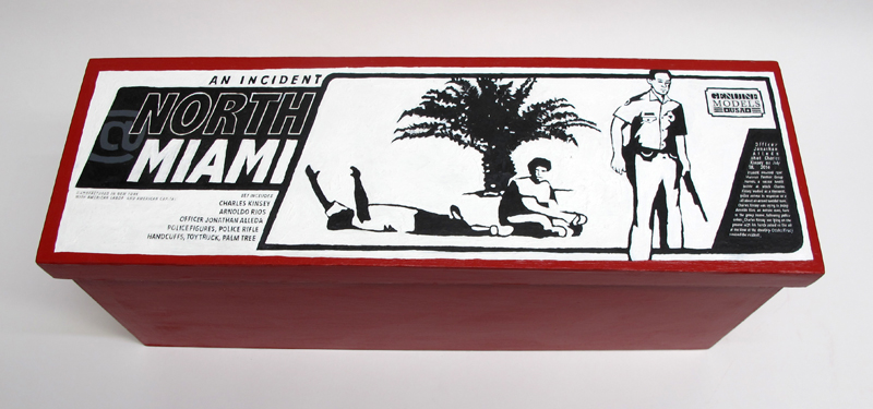 """closed box of """"An Incident at North Miami,"""" boxed set with five painted figures plus accessories by Matt Ferranto"""