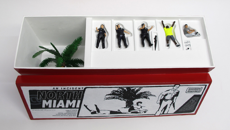 "open box of ""An Incident at North Miami,"" boxed set with five painted figures plus accessories by Matt Ferranto"