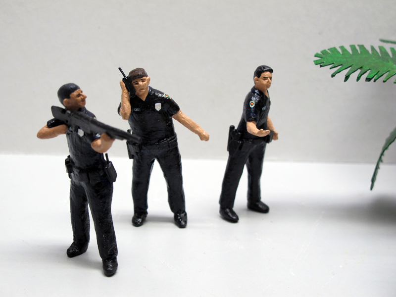"""detail of """"An Incident at North Miami,"""" boxed set with five painted figures plus accessories by Matt Ferranto"""