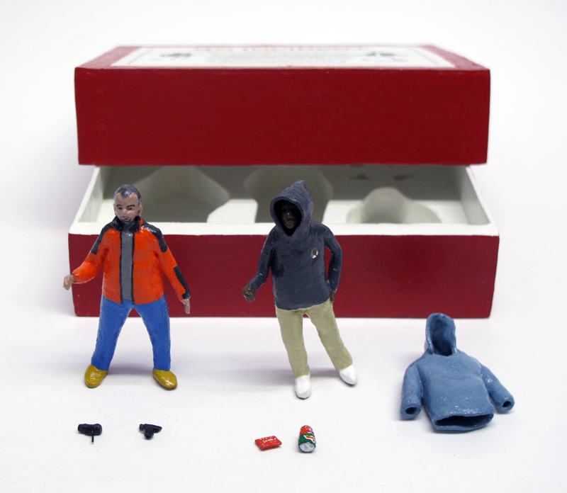 "open box of ""An Incident near Orlando,"" boxed set with two painted figures plus accessories by Matt Ferranto"