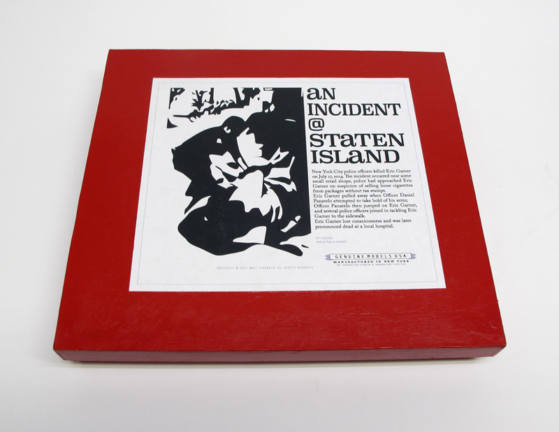 "closed box of ""An Incident at Staten Island,"" boxed set with thirteen painted figures by Matt Ferranto"