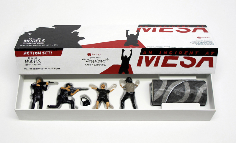 """open box of """"An Incident at Mesa,"""" boxed set with four painted figures plus accessories by Matt Ferranto"""