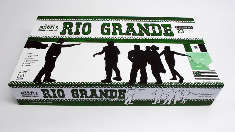 """closed box of """"Rio Grande,"""" boxed set with ten painted figures, SUV, and accessories by Matt Ferranto"""