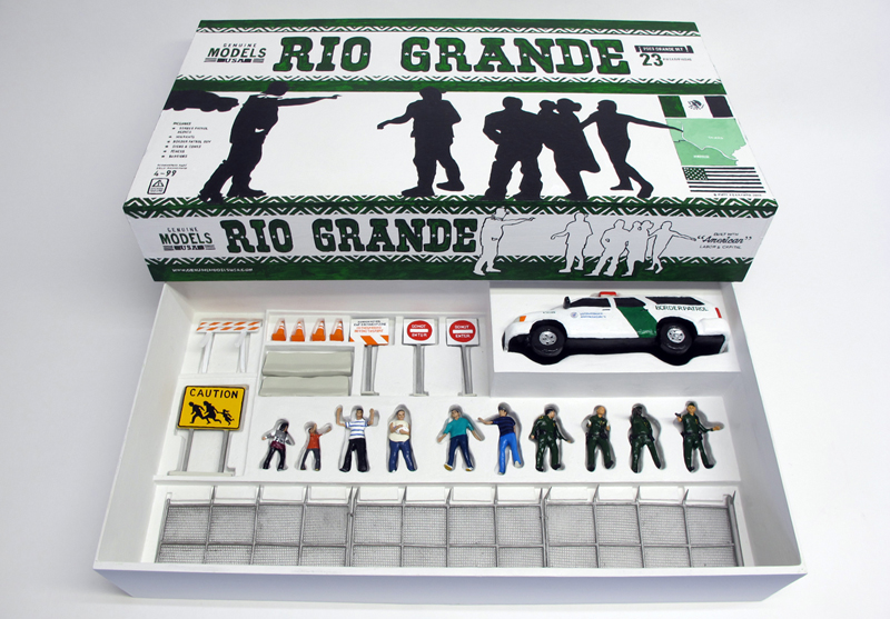 """open box of """"Rio Grande,"""" boxed set with ten painted figures, SUV, and accessories by Matt Ferranto"""