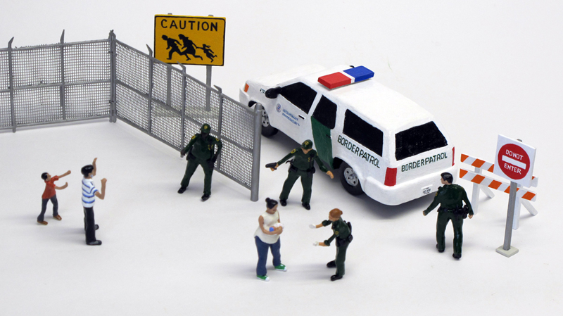 """detail of """"Rio Grande,"""" boxed set with ten painted figures, SUV, and accessories by Matt Ferranto"""