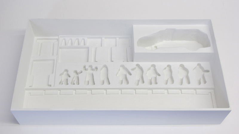 """empty box of """"Rio Grande,"""" boxed set with ten painted figures, SUV, and accessories by Matt Ferranto"""