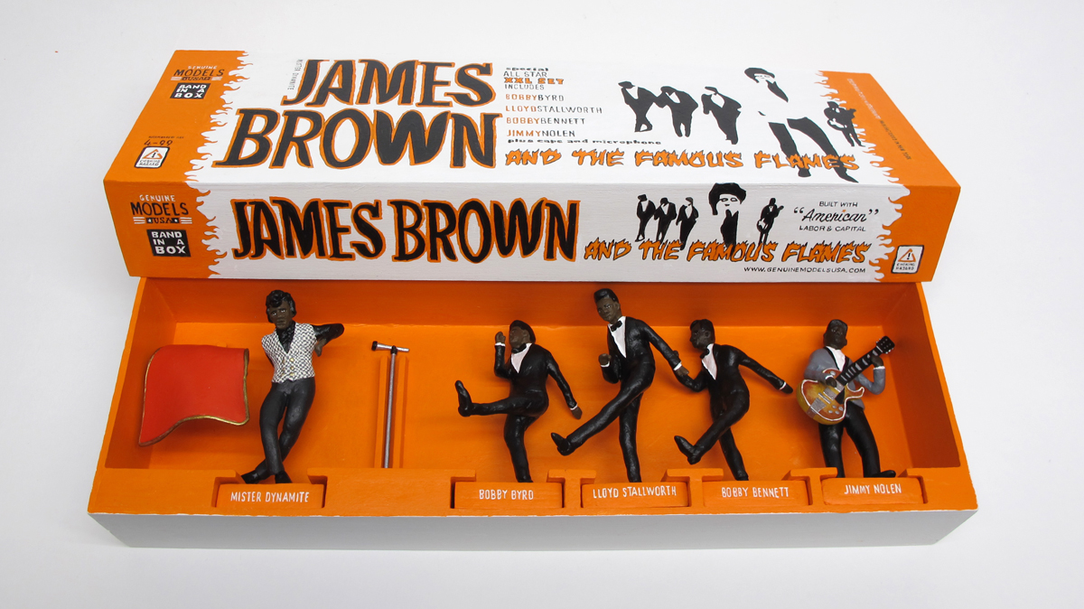 "open box of ""James Brown and the Famous Flames,"" boxed set with five painted figures plus accessories by Matt Ferranto"