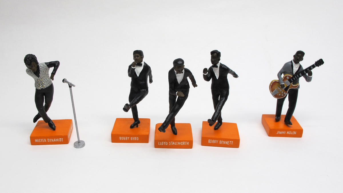 "detail of ""James Brown and the Famous Flames,"" boxed set with five painted figures plus accessories by Matt Ferranto"