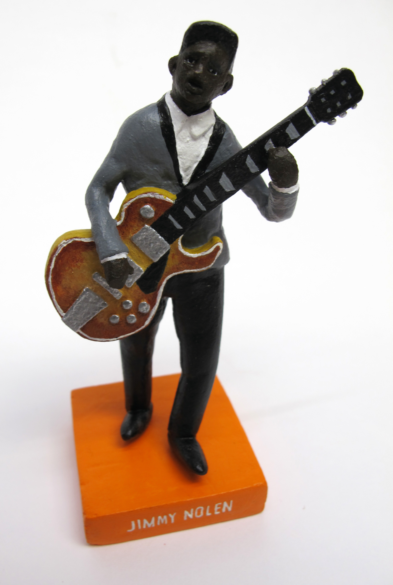 """detail of """"James Brown and the Famous Flames,"""" boxed set with five painted figures plus accessories by Matt Ferranto"""