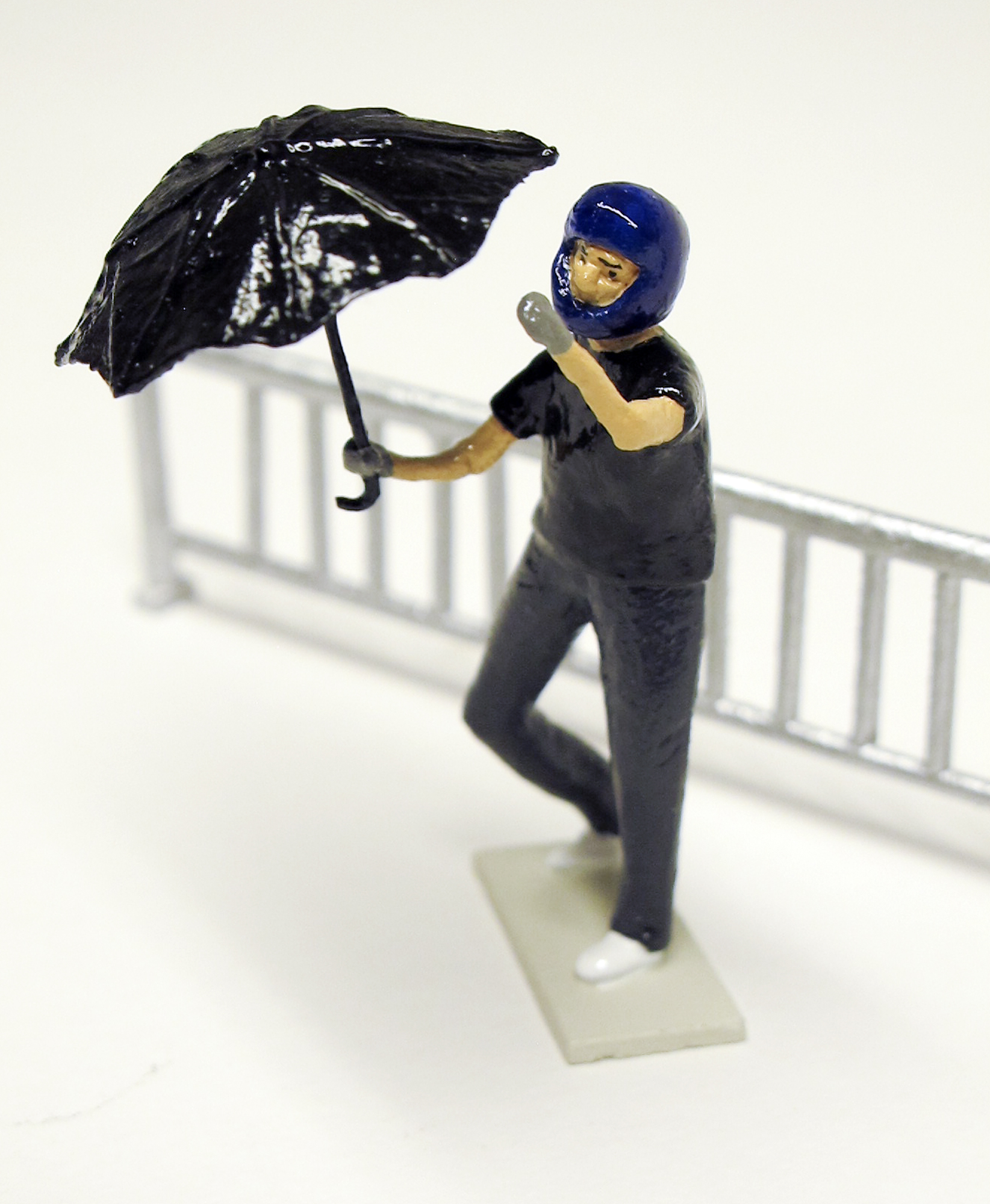 """figure from """"Hong Kong Student Protesters,"""" boxed set with six painted figures plus accessories by Matt Ferranto"""