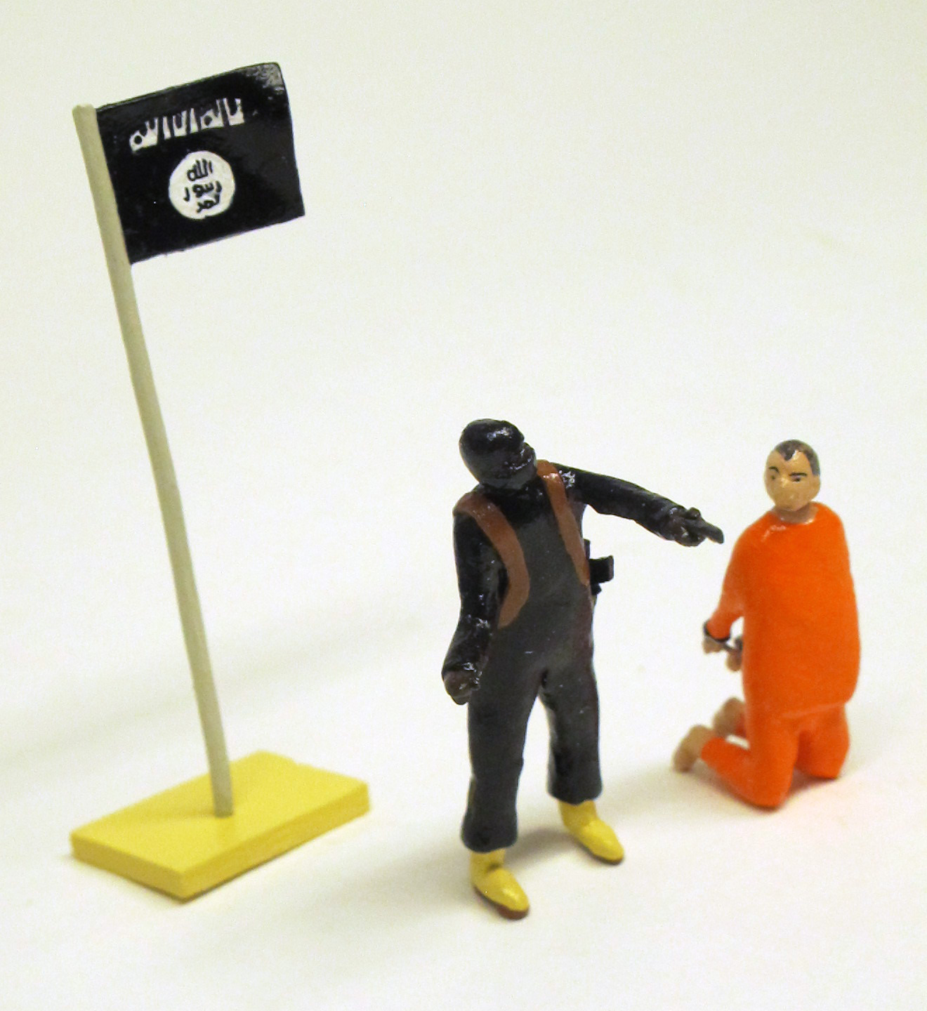 """detail of """"A Happening at an Undisclosed Location in Syria,"""" boxed set with two miniature painted figures plus accessories by Matt Ferranto"""
