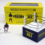 "box plus contents of ""The Real Fight of the Century,"" boxed set with two painted figures plus boxing ring by Matt Ferranto"