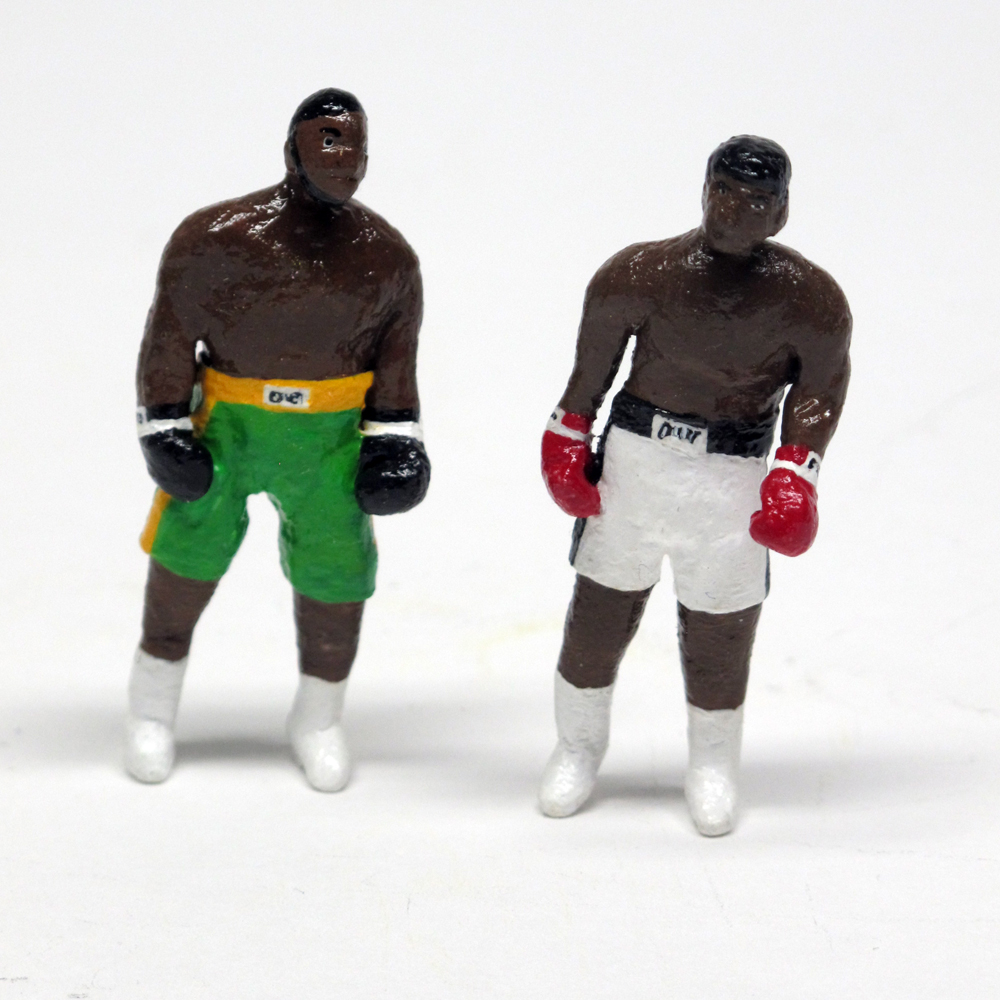 "detail of of ""The Real Fight of the Century,"" painted figures of Joe Frazier and Muhammad Ali by Matt Ferranto"