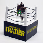 """detail of of """"The Real Fight of the Century,"""" painted figures of Joe Frazier and Muhammad Ali in boxing ring by Matt Ferranto"""