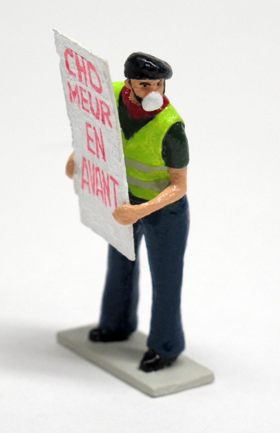 "figure from ""Yellow Vests (Gilets Jaunes),"" boxed set with six painted figures by Matt Ferranto"