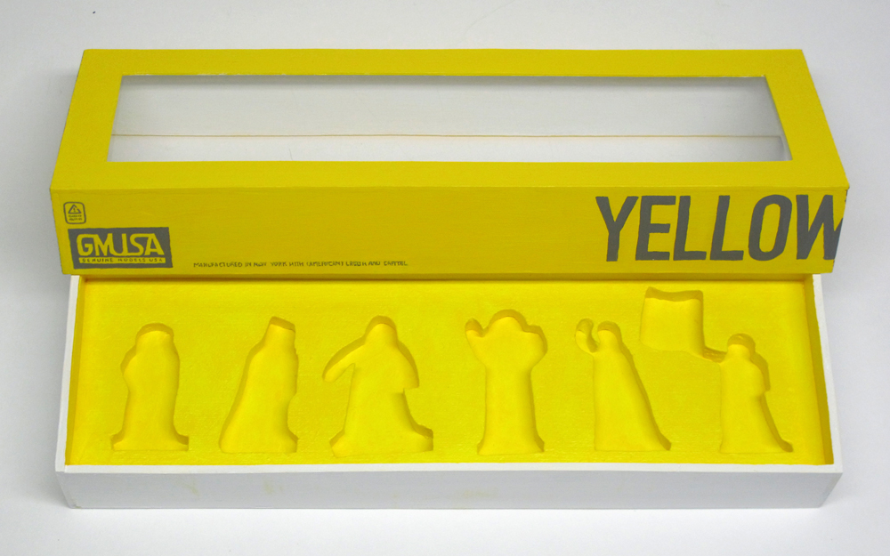 "empty box of ""Yellow Vests (Gilets Jaunes),"" boxed set with six painted figures by Matt Ferranto"